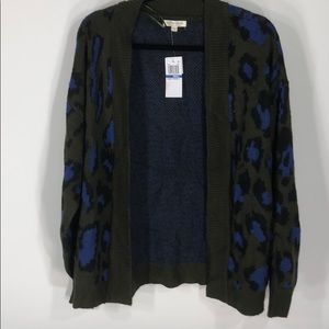 Dark green with black and blue cardigan
